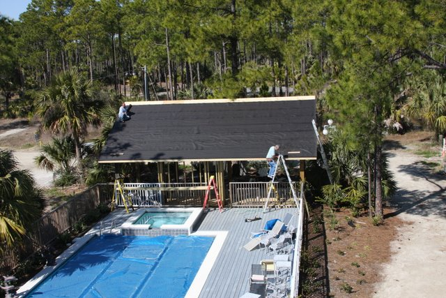 Finally, after about three months of waiting, we received our DEP permit  and Gulf County permit to compelte the poolhouse, bathroom and sauna.